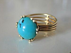 Vintage Gold 585 Ring Türkis Gr. 60
