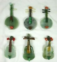Vintage Jade Stone Ruan Violins Miniature Chinese Musical Instruments Set Of 6