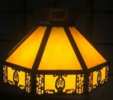 METAL OVERLAY LEADED SLAG GLASS CHANDELIER