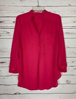 41 Hawthorn Stitch Fix Women's L Large Pink Button Long Sleeve Spring Top Blouse