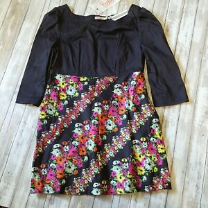 Dress by Tulle XL Black Floral fitted top side zipper pockets new