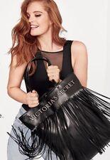 Victoria's Secret Logo Flirty Fringe Tote Bag Black Limited Edition