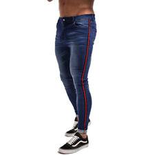 GINGTTO Men Stretch Jean Skinny Slim Fit Washed Biker Vintage Denim Blue Trouser