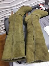 Casadei Knee High Shearling Fur lined Boots Size 9 Army Green  Boots MSRP $735