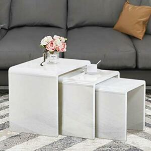 GOLDFAN Nest of 3 tables High Gloss Coffee Table Set Nesting Sofa Table