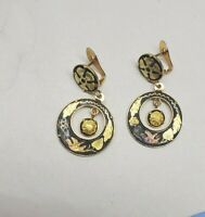 VTG Damascene Earrings Leaf Bird Motif w Center Dangle UNIQUE Pierced Clip On