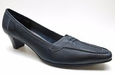 Ros Hommerson Blue Leather Dress Pumps Heels 8.5 4A Extra Narrow NEW MSRP $120.
