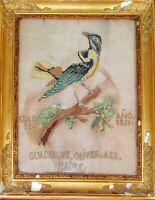 OISEAU. BRODERIE MAIN. ANCIEN CADRE. ESPAGNE. 1850