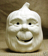 Ceramic Bisque Happy Pumpkin Lighted Scioto Mold 1473 U-Paint Ready To Paint