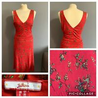 Women's Size 12 Joe Browns Red Floral Summer Sleeveless A Line Dress