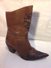 Vera Gomma Brown Mid Calf Leather Boots Size 37