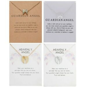Guardian Angel Silver Gold Necklace Wings In Memory Jewellery Pendant Gift Loss