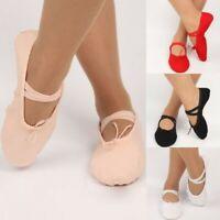 Kids Adult Canvas Split Sole Ballet Dance Shoes Pointe Slippers Gymnastics Shoes