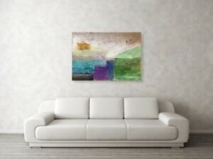 Modern CanvasArt,LARGE Rectangle Abstract,Acrylic Painting,'Concrete and ideas'