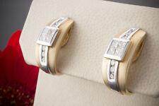 Schmuck Carré Diamanten Ohrstecker mit Clip & Brillanten 585er Gold Matt Bicolor