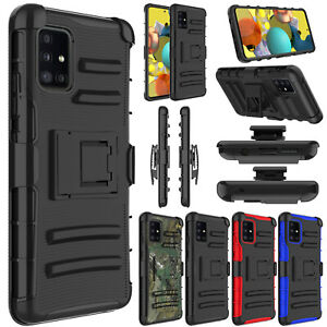 For Samsung Galaxy A51 5G Phone Case Shockproof Belt Clip Kickstand Armor Cover