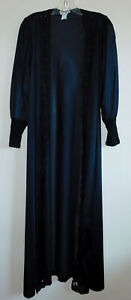 Vintage 80s Black Nylon Peignoir Robe Open Lace Long Full Sleeve Avon S