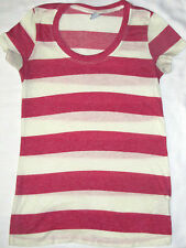 Womens Kirra Pink White Striped Lightweight Tee T-Shirt Size Extra Small