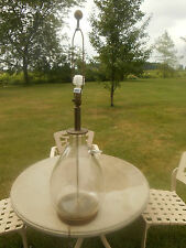Vintage MCM Large Oversized Hand Blown Clear Glass Table Lamp Brass Base