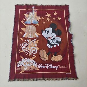 Vintage Walt Disney World 37x49 Throw Blanket Mickey Mouse Amusement Park