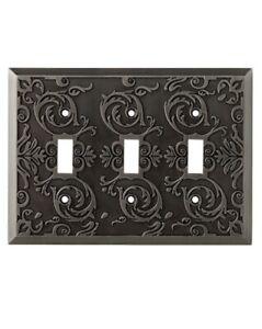 Three (3) BRAINERD Fairhope  HEIRLOOM SILVER Triple Toggle Wall Plates ~ 0405547