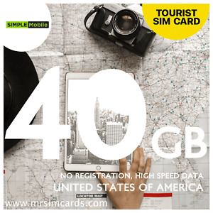 USA Tourist Data Sim - 40GB