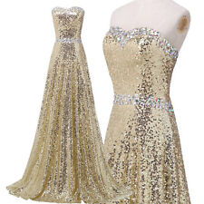 Pailettenkleid Gold Ballkleid Abendkleid Lang Brautjungfern Partykleid Maxikleid