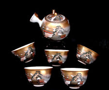 MARKED Kutani Matsuki JAPANESE SHOWA PERIOD KUTANI TEA POT & 5 CUPS SET