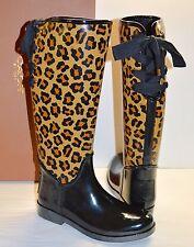 New $168 Coach Tristee Shiny Black Rubber/Neutral Cheetah Rain Boot Rainboots 8