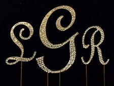 GOLD Rhinestone Crystal Covered Monogram Initial Letter Wedding Cake Topper Set