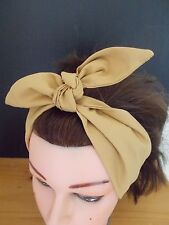 HEAD SCARF HAIR BAND gold SELF TIE BOW  NECK ROCKABILLY SWING PIN UP 50s RETRO