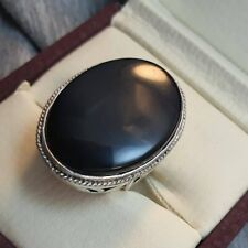 Yemeni Aqeeq Ring Handmade Black Aqeeq Ring Mens Sterling Silver 925 Agate Ring