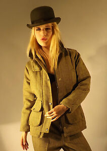 Tweed Jacket New Ladies Made In England Fitted Light Green Moleskin Collar