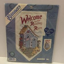 """Counted Cross Stitch """"Welcome to our Reading Room"""" 8'' X 13'' With Wire Hanger"""
