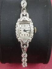 14K White Gold & Diamond Vintage Hampden Swiss Ladies Watch