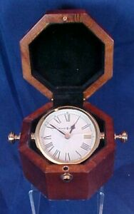 Vintage Howard Miller Clock in Beautiful Wood Case Flip Design Brass Hinge