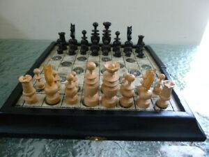Vintage Regency Chess Set in Wooden Storage Box Inlaid with Mother of Pearl