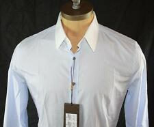 AUTH $385 Gucci Men Classic Fit Blue Long Sleeve Shirt 39 15.5