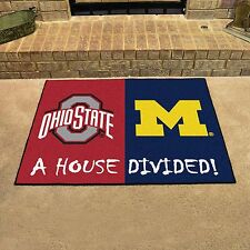 Michigan Wolverines - Ohio State Buckeyes House Divided All Star Area Rug Mat