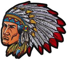 """Indian Head Dress Large Patch Chief 12"""" x 11"""" FAST SHIPPING"""