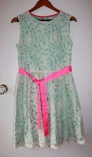 NWOT Boden Johnnie B Green Dress with White Lace Overlay & Pink Sash Size 16
