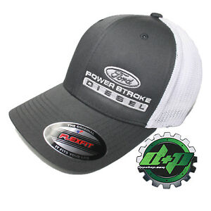 Ford Powerstroke truckers mesh summer hat Char. Gray White cap fitted flexfit!