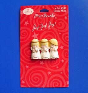 Hallmark PIN Christmas Vintage ANGEL PRAYING Joy TRIO Holiday Brooch NEW