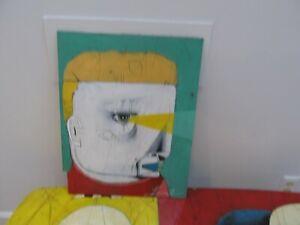 MICHAEL BANKS Outsider FOLK ART  PAINTING MAN FACE ALABAMA