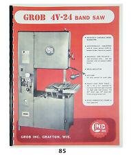 Grob 4V-24 Band Saw Operator & Parts Manual #85