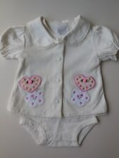 2 PCE BABY GIRL OUTFIT SET ROMPER BODYSUIT TOP JACKET CLOTHES SIZE 0 FITS 6-9M