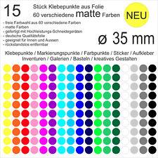 15 Stück Klebepunkte aus Folie matt rund 35mm Aufkleber Sticker Inventur NEU