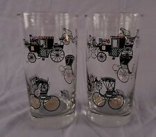 Libbey Glass - Car~Carriage~Buggy - 12oz Tumbler Set/s of 2 - Mid Century Design