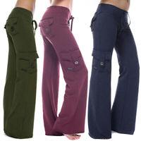 Women Cargo Pocket Pants Yoga Gym Sport Loose Trousers Sport Bell Bottom Slacks