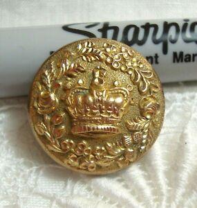"Antique Golden Age Gilt Metal Button CROWN & FLOWER BORDER 7/8"""